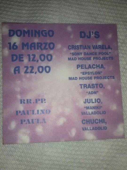 Flyer of a party held in 1997 Flyer de una fiesta celebrada en 1997